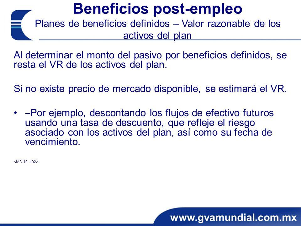 Beneficios post-empleo Planes de beneficios definidos – Valor razonable de los activos del plan