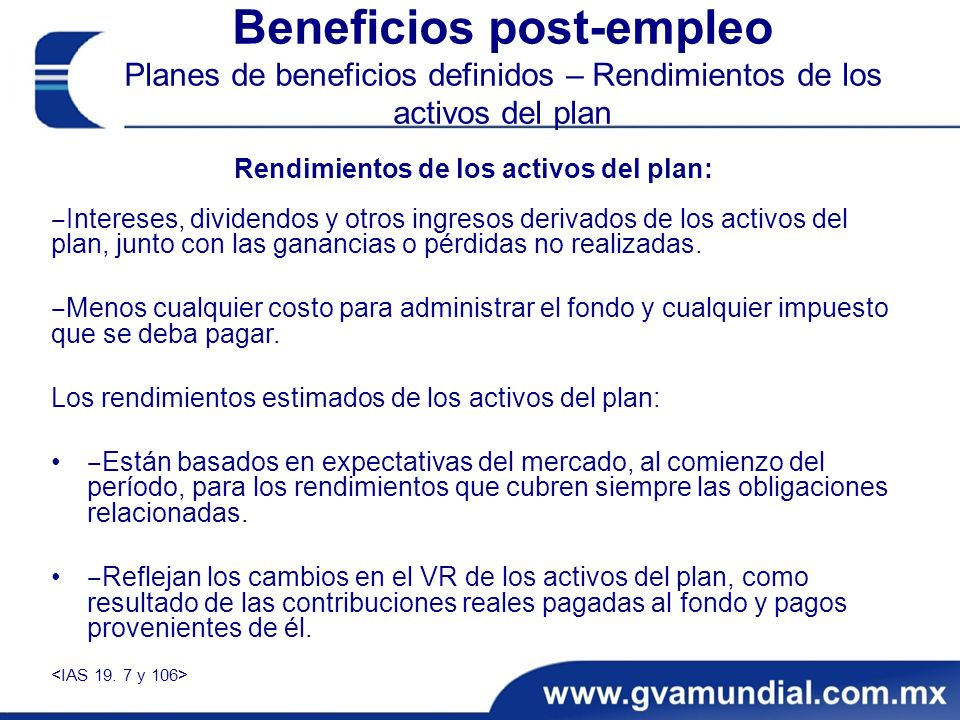 Rendimientos de los activos del plan: