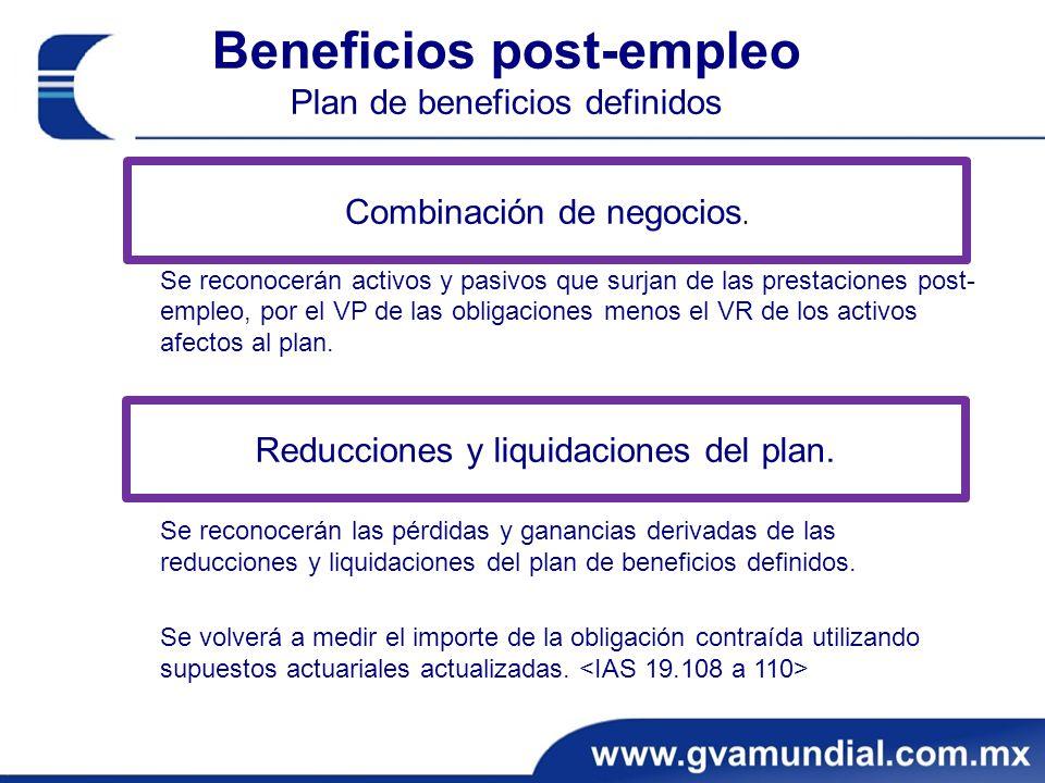 Beneficios post-empleo Plan de beneficios definidos