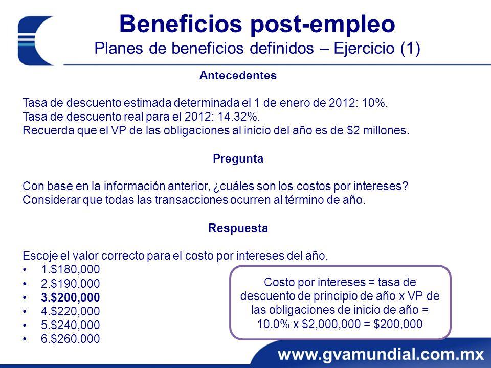 Beneficios post-empleo Planes de beneficios definidos – Ejercicio (1)