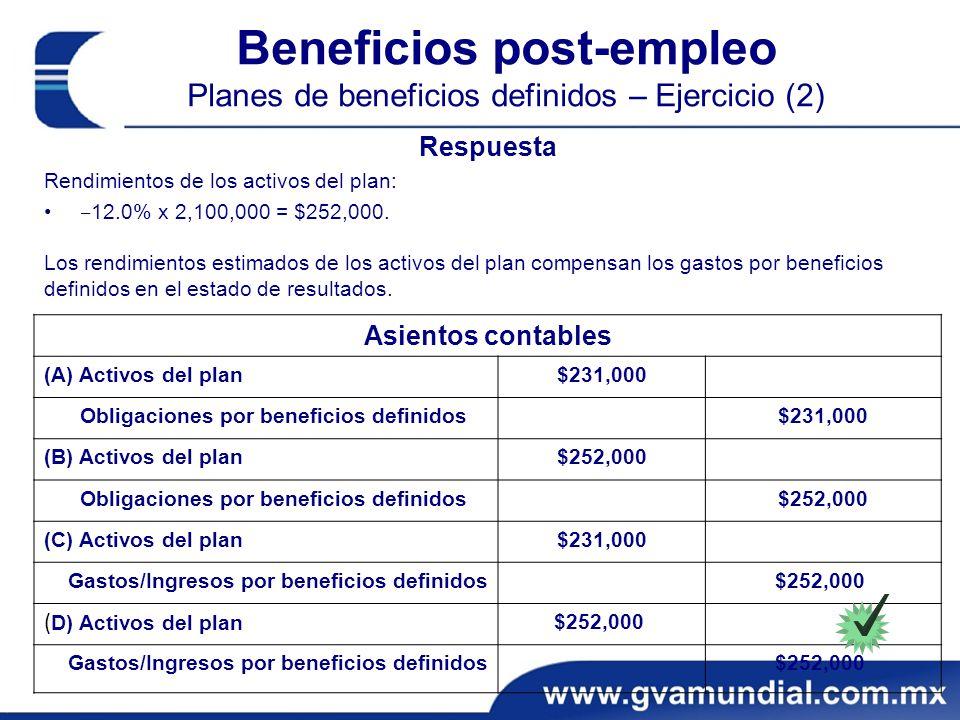 Beneficios post-empleo Planes de beneficios definidos – Ejercicio (2)