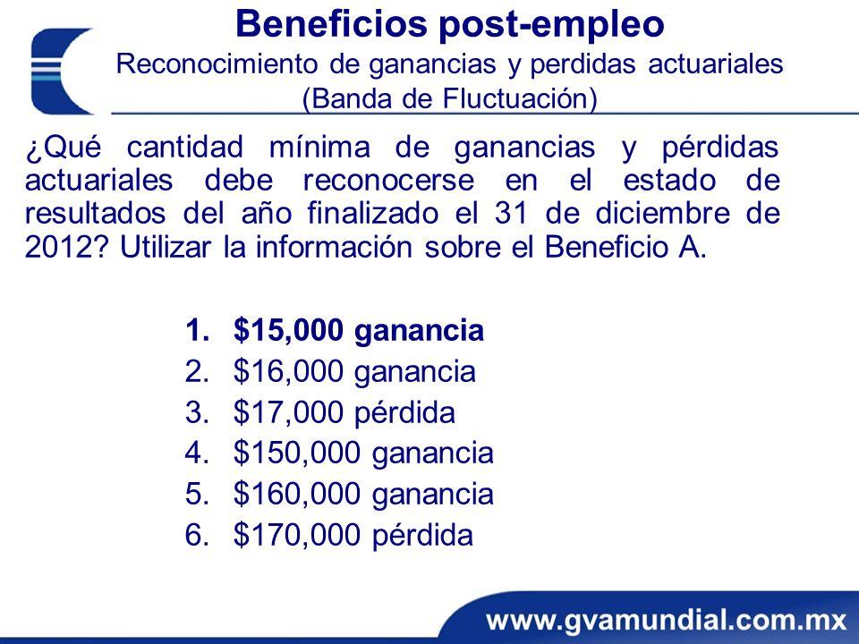 Beneficios post-empleo Reconocimiento de ganancias y perdidas actuariales (Banda de Fluctuación)