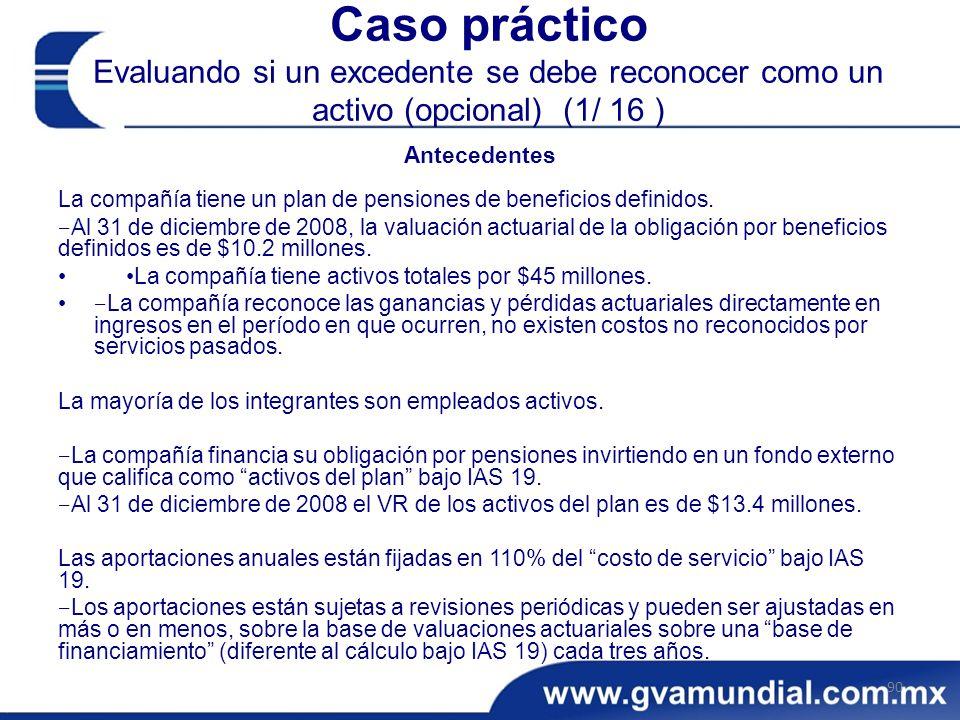 Caso práctico Evaluando si un excedente se debe reconocer como un activo (opcional) (1/ 16 )