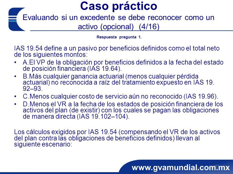 Caso práctico Evaluando si un excedente se debe reconocer como un activo (opcional) (4/16)