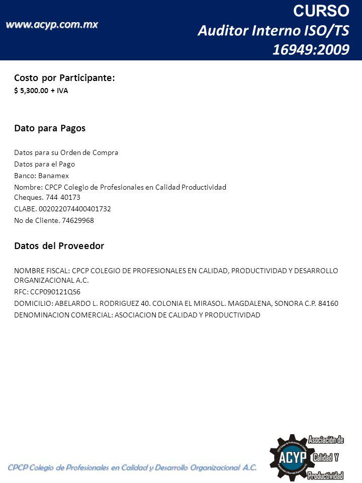 CURSO Auditor Interno ISO/TS 16949:2009