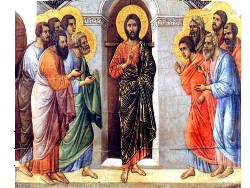 - Jesús aparece en medio de ellos . Los discípulos redescubren