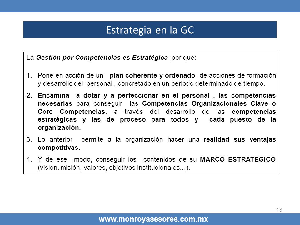 Estrategia en la GC www.monroyasesores.com.mx
