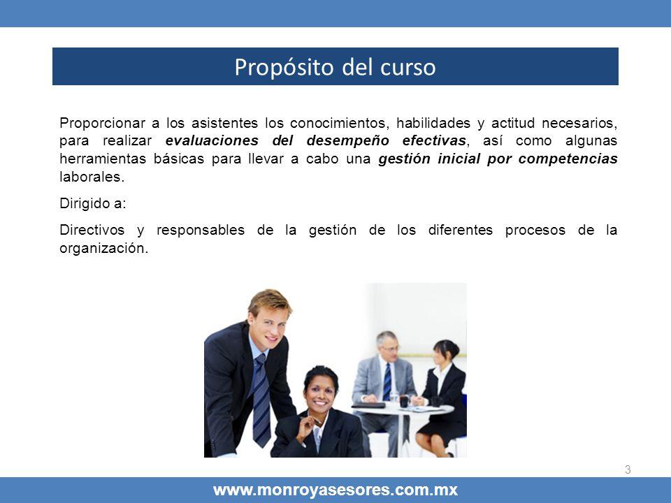 Propósito del curso www.monroyasesores.com.mx