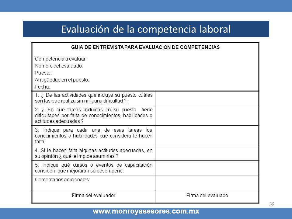 GUIA DE ENTREVISTA PARA EVALUACION DE COMPETENCIAS