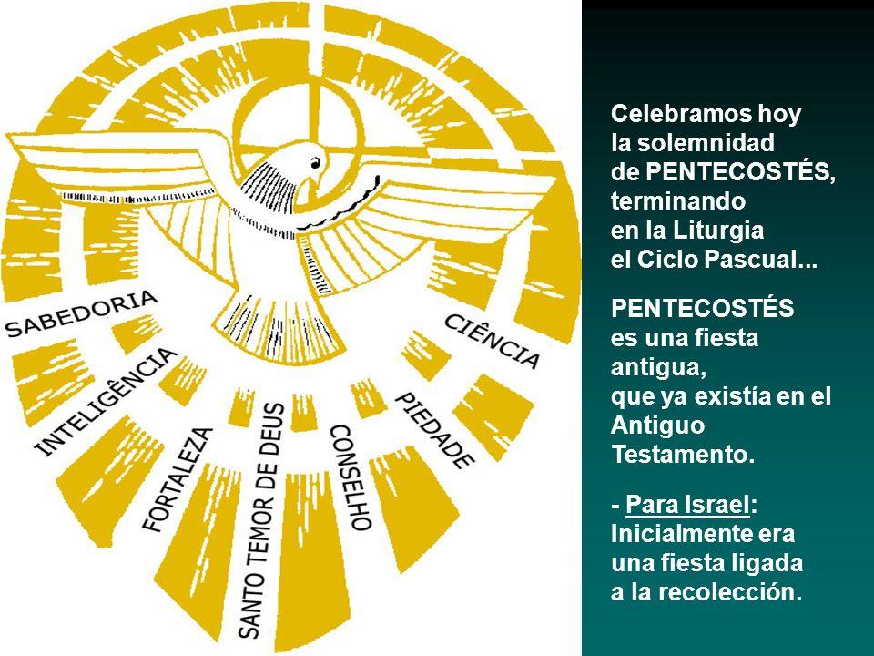 Celebramos hoyla solemnidad. de PENTECOSTÉS, terminando. en la Liturgia. el Ciclo Pascual... PENTECOSTÉS.