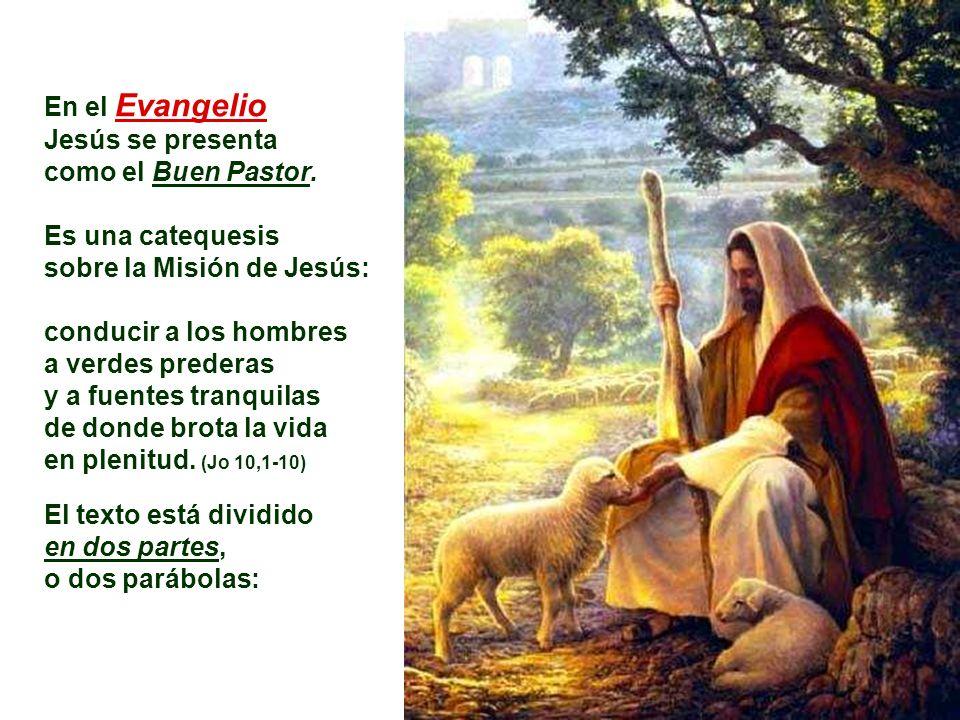 En el Evangelio Jesús se presenta. como el Buen Pastor. Es una catequesis. sobre la Misión de Jesús: