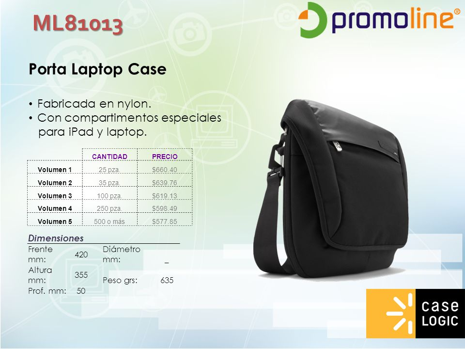 ML81013 Porta Laptop Case Fabricada en nylon.