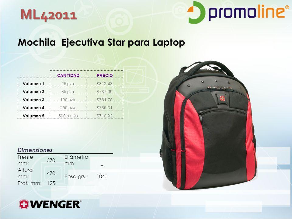 ML42011 Mochila Ejecutiva Star para Laptop Dimensiones Frente mm: 370