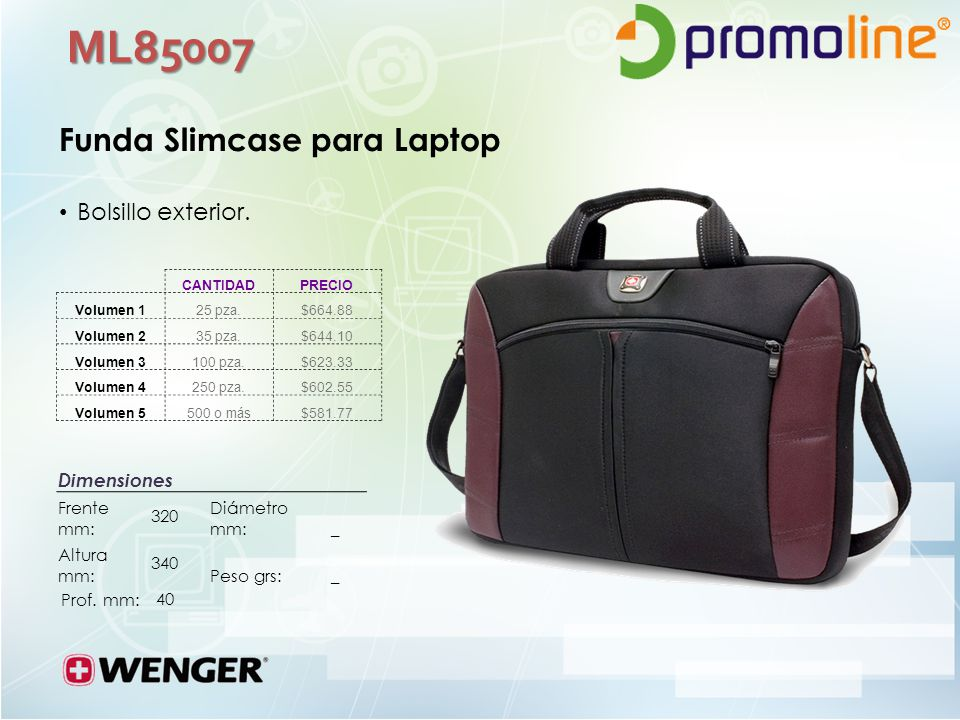 ML85007 Funda Slimcase para Laptop Bolsillo exterior. Dimensiones