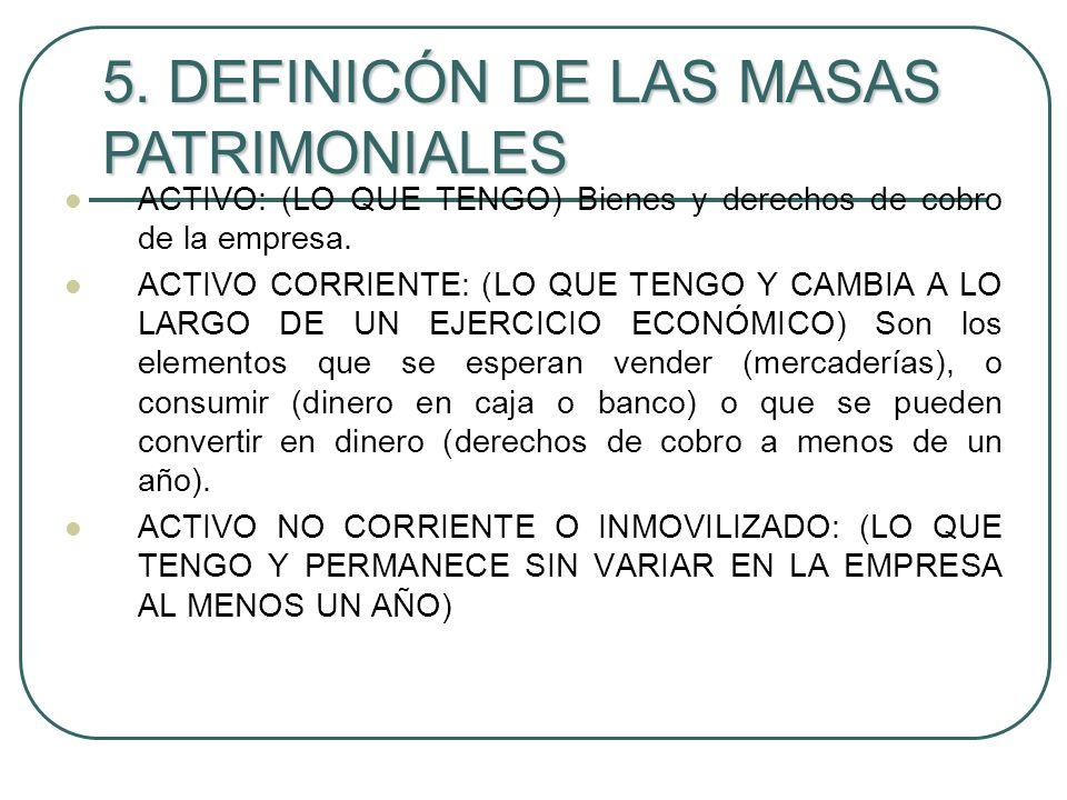 5. DEFINICÓN DE LAS MASAS PATRIMONIALES