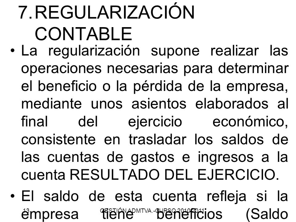 REGULARIZACIÓN CONTABLE