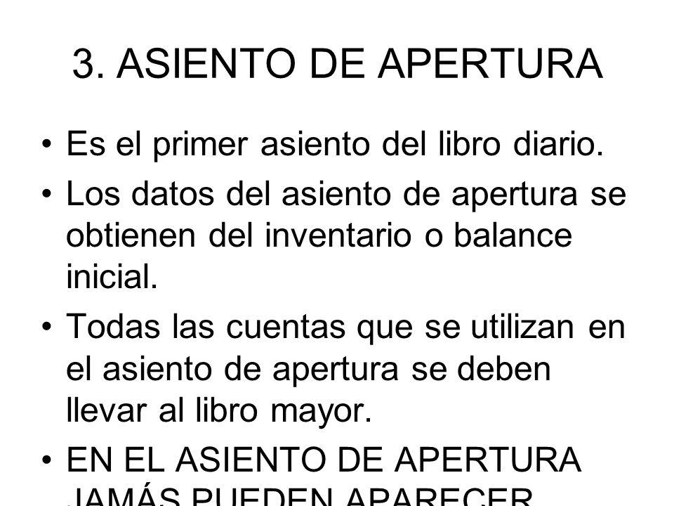 ASIENTO DE APERTURA Es el primer asiento del libro diario.