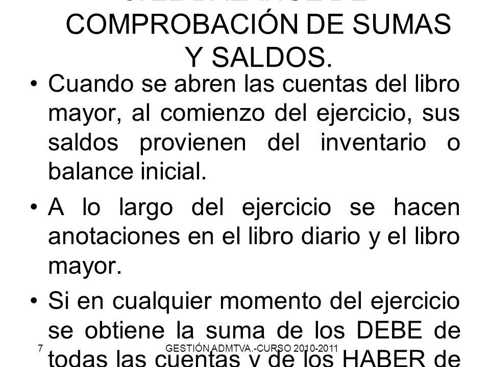 EL BALANCE DE COMPROBACIÓN DE SUMAS Y SALDOS.