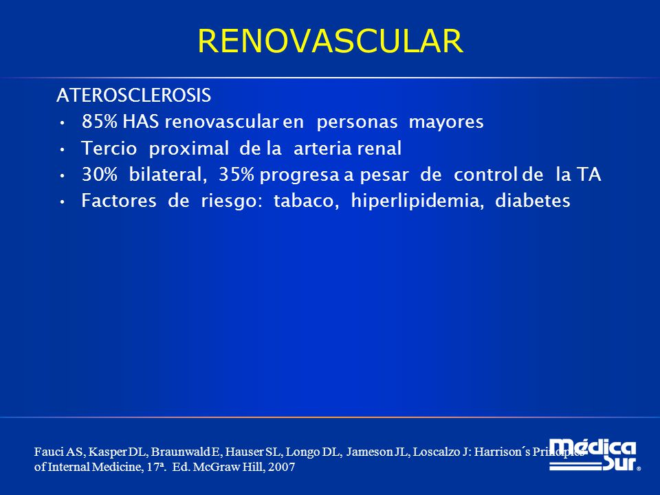 RENOVASCULAR ATEROSCLEROSIS 85% HAS renovascular en personas mayores