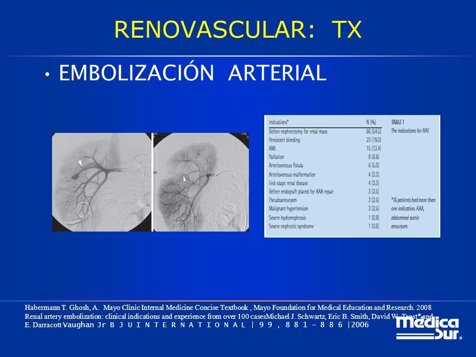 RENOVASCULAR: TX EMBOLIZACIÓN ARTERIAL