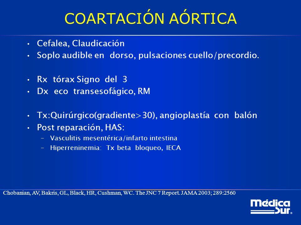 COARTACIÓN AÓRTICA Cefalea, Claudicación