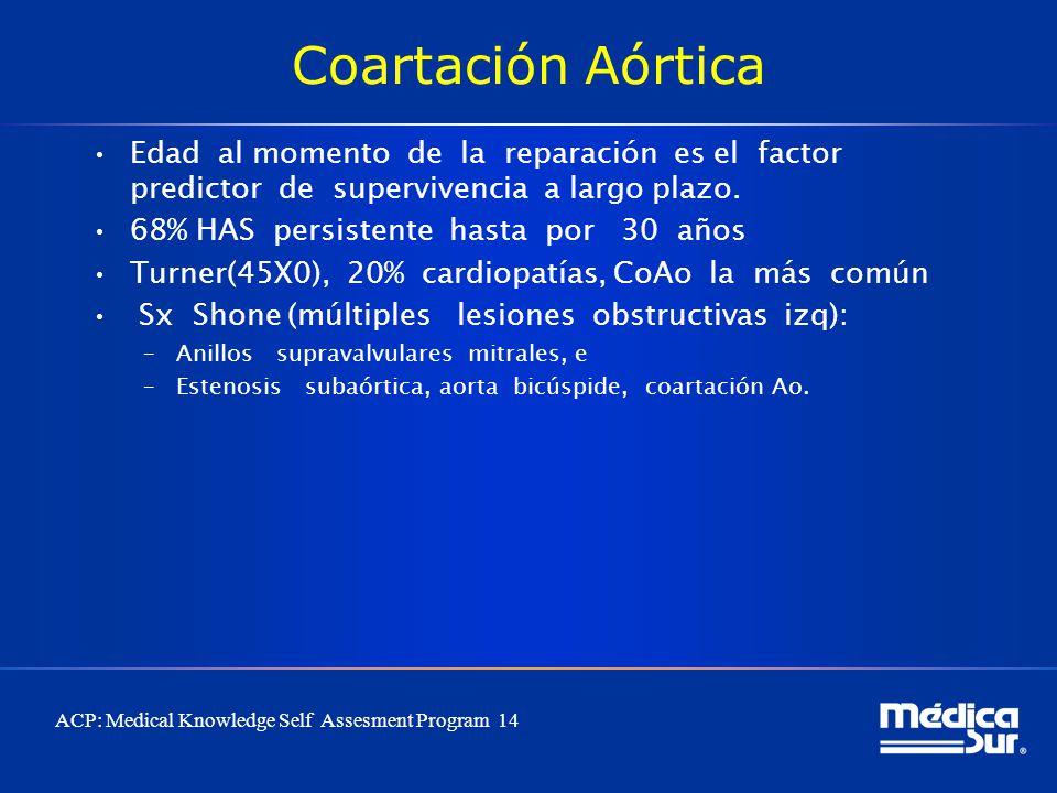 Coartación Aórtica Edad al momento de la reparación es el factor predictor de supervivencia a largo plazo.