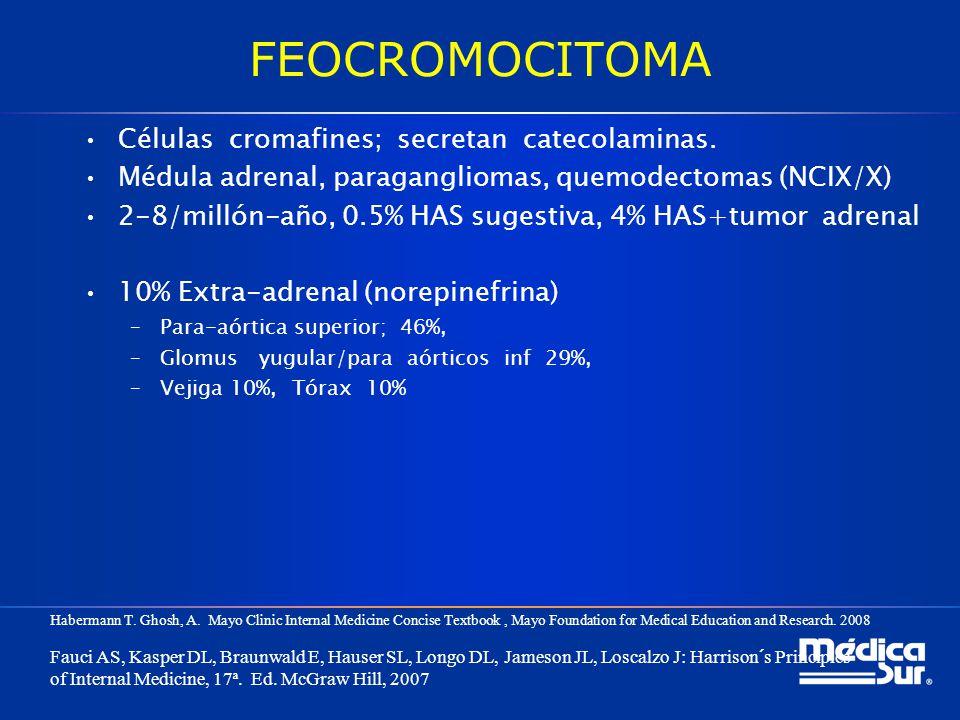 FEOCROMOCITOMA Células cromafines; secretan catecolaminas.