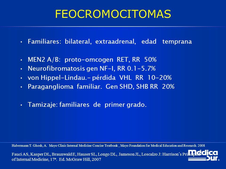 FEOCROMOCITOMAS Familiares: bilateral, extraadrenal, edad temprana