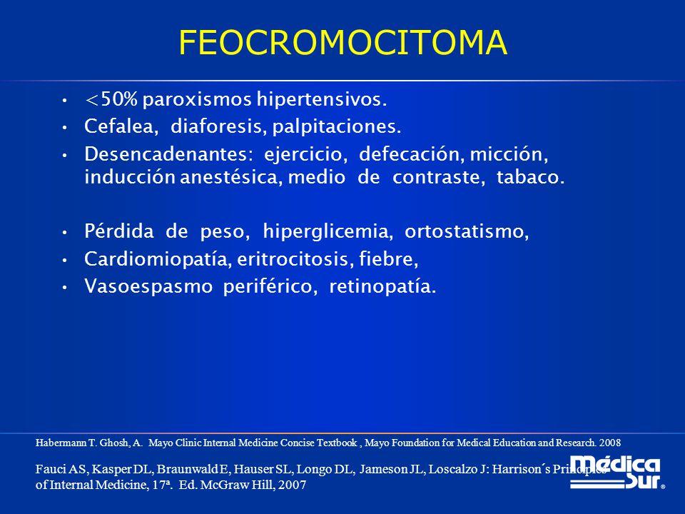 FEOCROMOCITOMA <50% paroxismos hipertensivos.