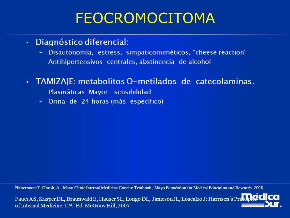 FEOCROMOCITOMA Diagnóstico diferencial: