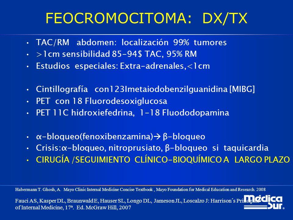 FEOCROMOCITOMA: DX/TX