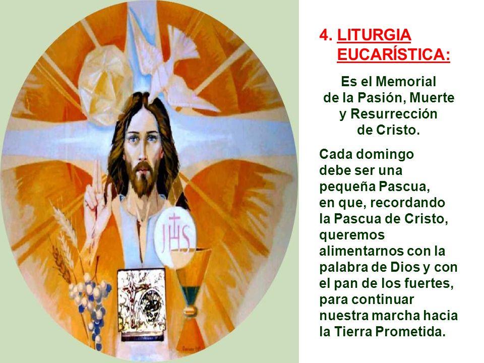 4. LITURGIA EUCARÍSTICA: Es el Memorial de la Pasión, Muerte
