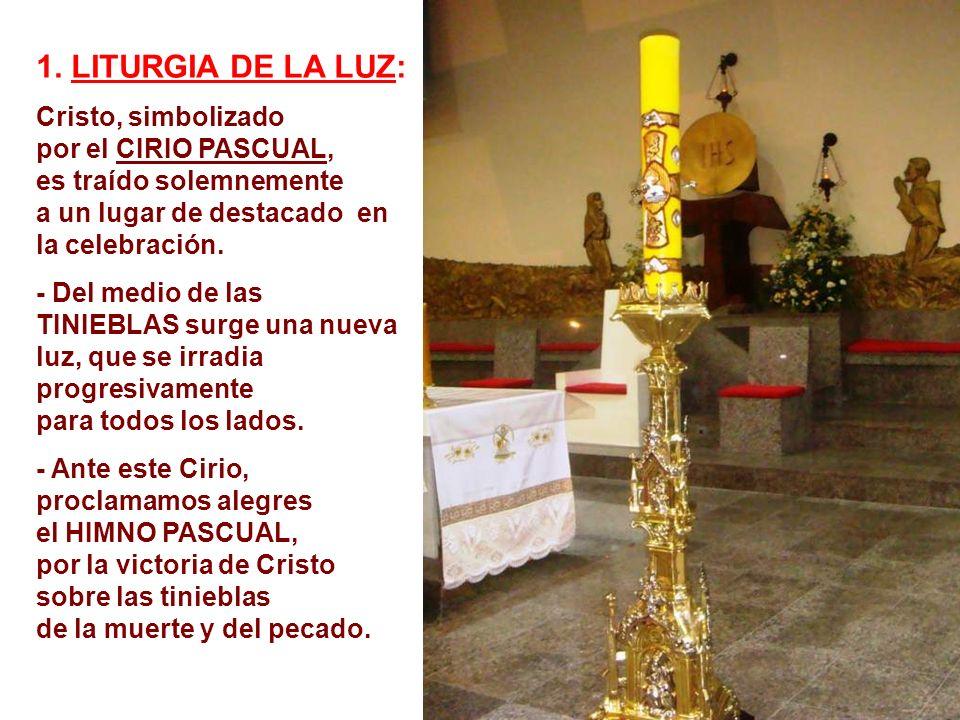 1. LITURGIA DE LA LUZ: Cristo, simbolizado por el CIRIO PASCUAL,