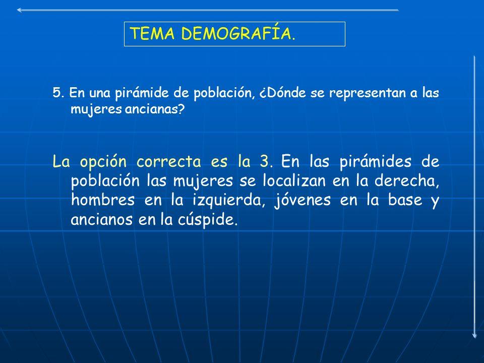 TEMA DEMOGRAFÍA. 5. En una pirámide de población, ¿Dónde se representan a las mujeres ancianas