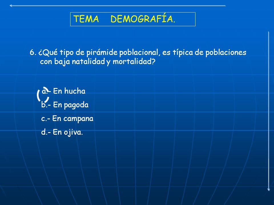 TEMA DEMOGRAFÍA. 6. ¿Qué tipo de pirámide poblacional, es típica de poblaciones con baja natalidad y mortalidad