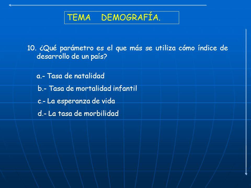 TEMA DEMOGRAFÍA. 10. ¿Qué parámetro es el que más se utiliza cómo índice de desarrollo de un país