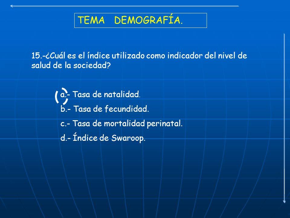 TEMA DEMOGRAFÍA. 15.-¿Cuál es el índice utilizado como indicador del nivel de salud de la sociedad