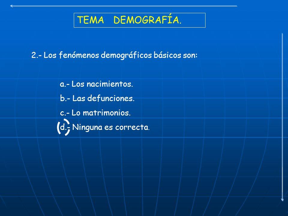 TEMA DEMOGRAFÍA. 2.- Los fenómenos demográficos básicos son: