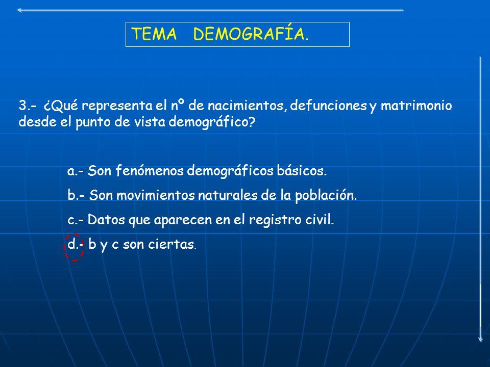 TEMA DEMOGRAFÍA. 3.- ¿Qué representa el nº de nacimientos, defunciones y matrimonio desde el punto de vista demográfico