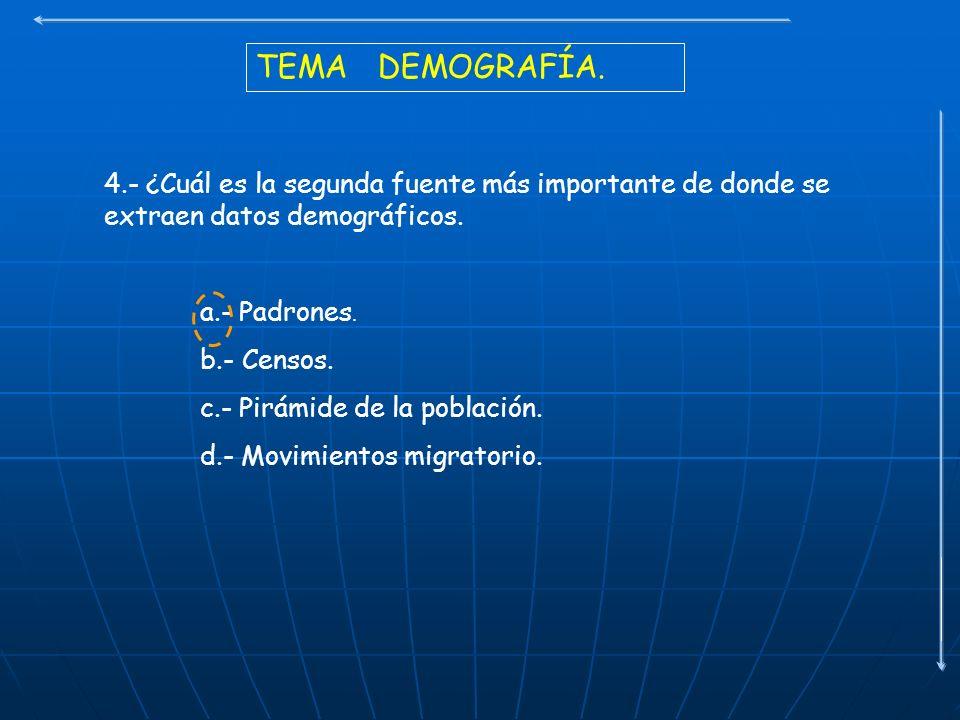 TEMA DEMOGRAFÍA. 4.- ¿Cuál es la segunda fuente más importante de donde se extraen datos demográficos.