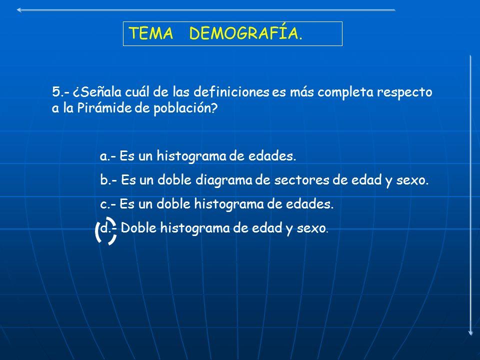 TEMA DEMOGRAFÍA. 5.- ¿Señala cuál de las definiciones es más completa respecto a la Pirámide de población
