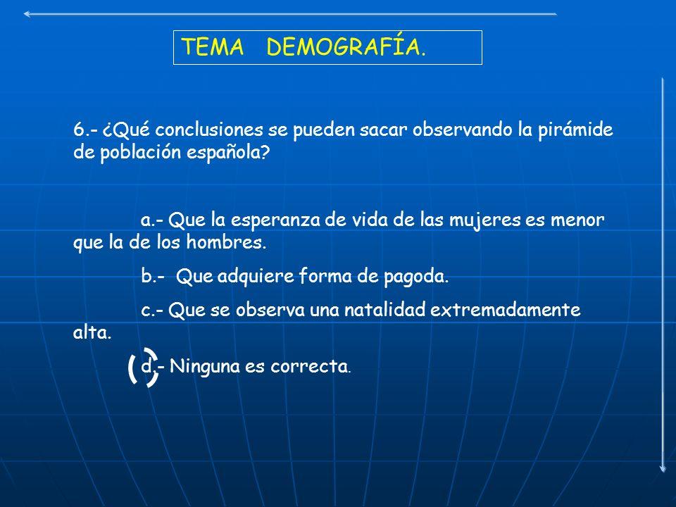 TEMA DEMOGRAFÍA. 6.- ¿Qué conclusiones se pueden sacar observando la pirámide de población española