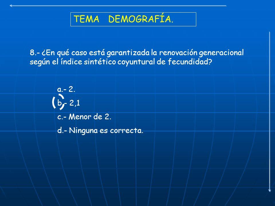TEMA DEMOGRAFÍA. 8.- ¿En qué caso está garantizada la renovación generacional según el índice sintético coyuntural de fecundidad