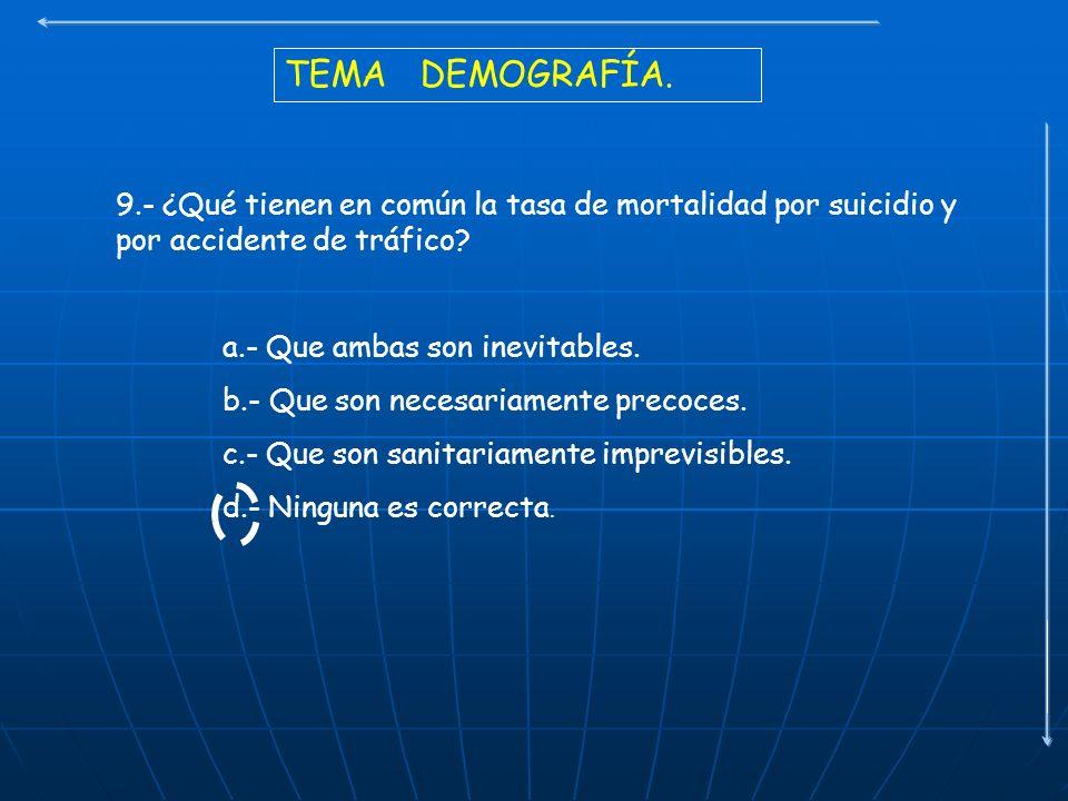 TEMA DEMOGRAFÍA. 9.- ¿Qué tienen en común la tasa de mortalidad por suicidio y por accidente de tráfico