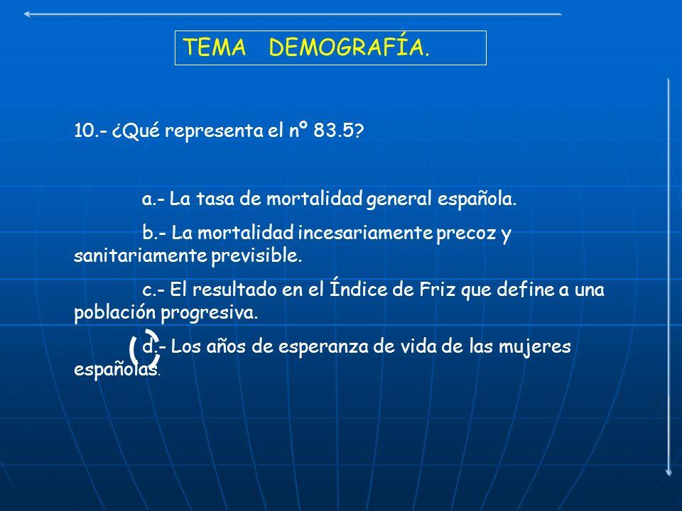 TEMA DEMOGRAFÍA. 10.- ¿Qué representa el nº 83.5