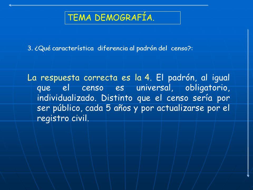 TEMA DEMOGRAFÍA. 3. ¿Qué característica diferencia al padrón del censo :