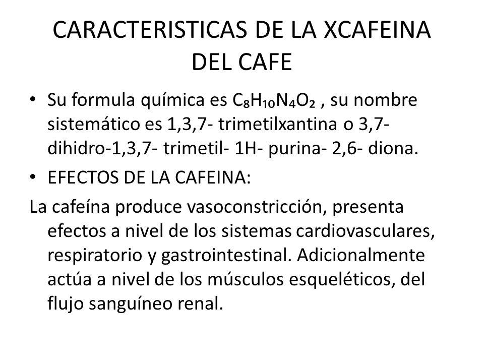 CARACTERISTICAS DE LA XCAFEINA DEL CAFE