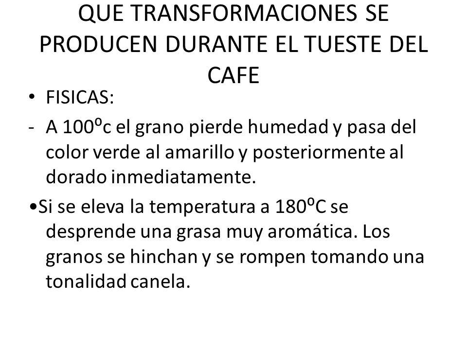 QUE TRANSFORMACIONES SE PRODUCEN DURANTE EL TUESTE DEL CAFE
