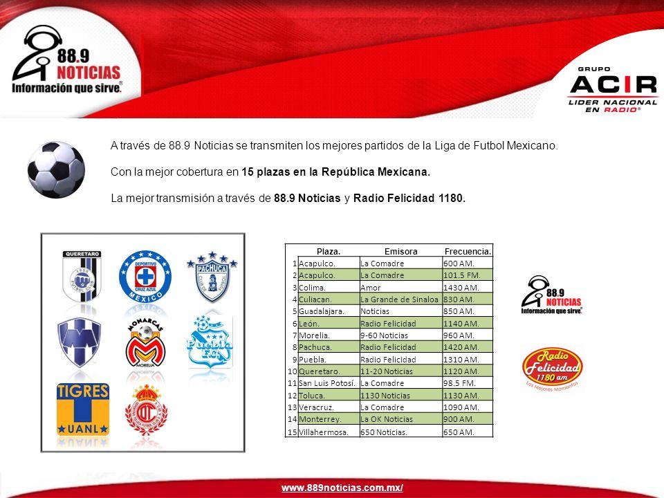 Con la mejor cobertura en 15 plazas en la República Mexicana.
