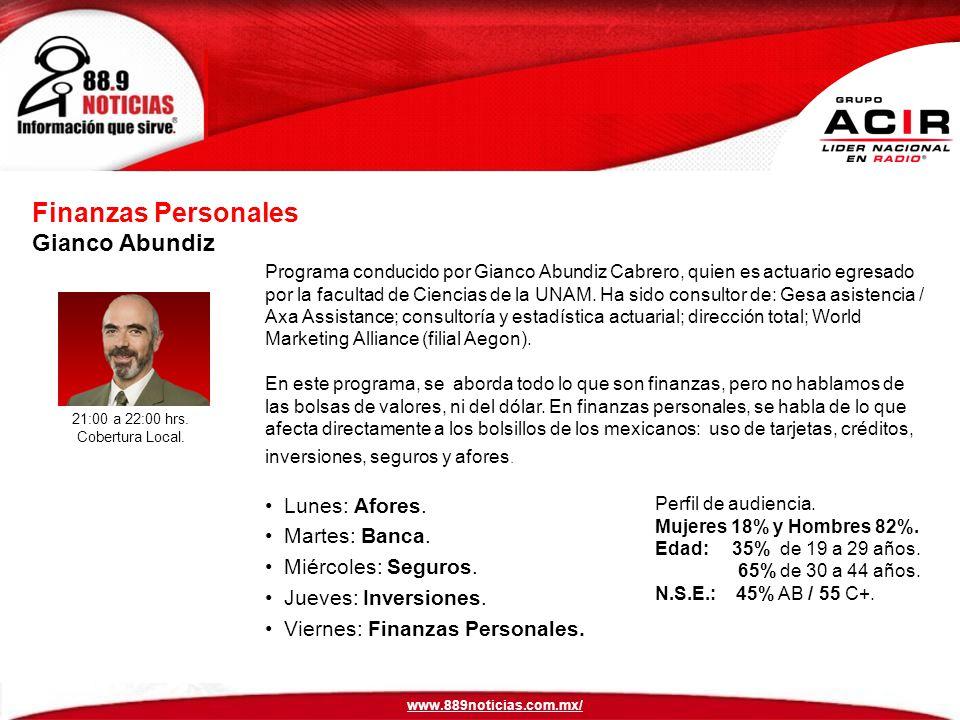 Finanzas Personales Gianco Abundiz Lunes: Afores. Martes: Banca.